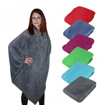 poncho mit tasche 100 polyester kuschelponcho fleecedecke 60x90 cm farbwahl ebay. Black Bedroom Furniture Sets. Home Design Ideas